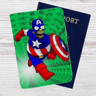 Bart Simpson Captain America Custom Leather Passport Wallet Case Cover