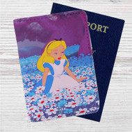 Alice in Wonderland With Flowers Custom Leather Passport Wallet Case Cover