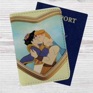Aladdin and Hercules Love Kiss Custom Leather Passport Wallet Case Cover