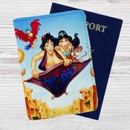Disney Aladdin and Jasmine WIth Monkey Custom Leather Passport Wallet Case Cover