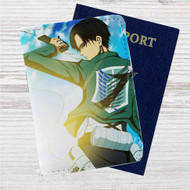Captain Levi Attack On Titan Custom Leather Passport Wallet Case Cover
