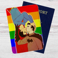 Batman and Superman Gay Pride Custom Leather Passport Wallet Case Cover
