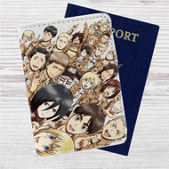 Attack On Titan Collage Custom Leather Passport Wallet Case Cover