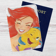 Ariel and Flounder The Little Mermaid Custom Leather Passport Wallet Case Cover