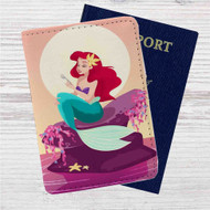 Ariel Mermaid After Eat Custom Leather Passport Wallet Case Cover