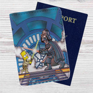Homer as Darth Vader vs Bart Custom Leather Passport Wallet Case Cover