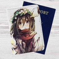 Mikasa Attack On Titan Custom Leather Passport Wallet Case Cover