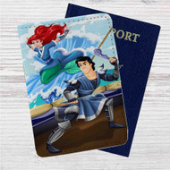 Ariel and Eric as Avatar The Last Airbender Custom Leather Passport Wallet Case Cover