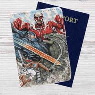 Attack on Godzilla Custom Leather Passport Wallet Case Cover