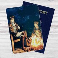 Levi Ackerman and Eren Jaeger Attack on Titan Custom Leather Passport Wallet Case Cover
