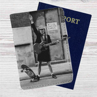 Angus Young of ACDC Custom Leather Passport Wallet Case Cover