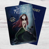 The Little Mermaid Tim Burton Custom Leather Passport Wallet Case Cover
