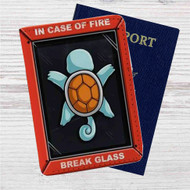 Squirtle Pokemon in Case of Fire Custom Leather Passport Wallet Case Cover