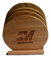 Round Bamboo Coaster Set with Mastercam® logo