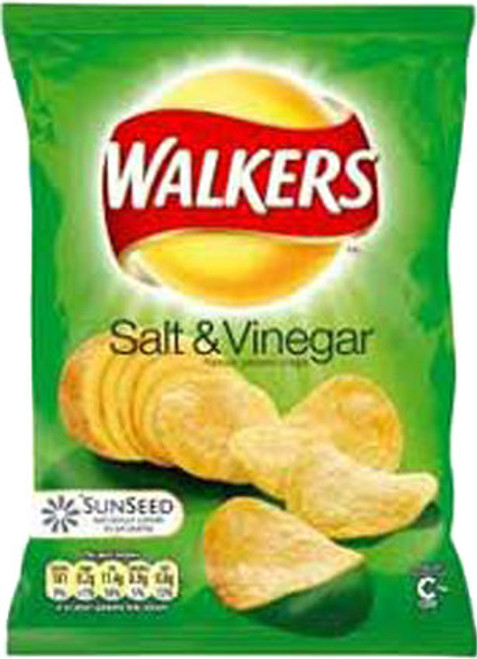 Walkers Salt & Vinegar Crisps (Case of 32 single-serving bags)