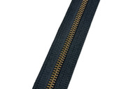 #5M YKK® Antique Brass Tooth Zipper Chain, Black (91050QBK)