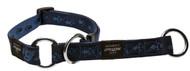 Rogz Alpinist Medium 16mm Matterhorn Web Half-Check Dog Collar, Blue Rogz Design(HBC23-B)