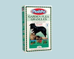 A scatter granule for the control of fleas outdoors