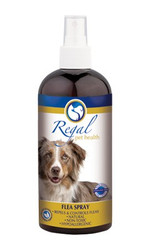 REGAL FLEA SPRAY is a topical herbal remedy formulated to repel and, in some cases, kill fleas and other parasites, such as ticks and mites, that typically infest dogs. With its non-toxic and natural hypoallergenic properties, this spray can be used liberally over your dog, blankets and collars - without being toxic to you or your children. This makes it the ideal repellent for family and home! While safe for dogs and humans, it is broadly toxic to many parasites, including fleas, ticks, mites and worms. Wormwood and Black Walnut have been used for centuries to help kill parasites around the home and garden and have strong antiseptic properties. Neem is often used in commercial flea products. It inhibits parasites' ability to reproduce and helps stop eggs from hatching. Citronella and thyme have been included too, for their antibacterial and insect repelling qualities.