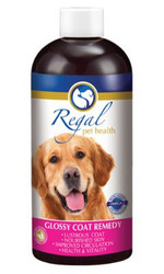 Regal's Glossy Coat Remedy is a special blend of nutrients, herbs and essential fatty acids to maximise the condition of your dog's coat. It boosts the health of your dog's skin, stimulates circulation, promotes hair growth, improves vitality and enhances liver function to help your dog shine – inside and out. Burdock root is known to help detox epidermal tissues and contains vitamin C and magnesium to aid immune function and hair growth. Red clover assists the liver functions and is the source of many nutrients, including calcium and niacin needed for well-nourished hair. Asian ginseng, known for its potent antioxidant properties, boosts vitality and general well-being.