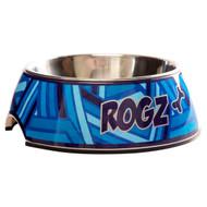 Rogz 2-in-1 Small 160ml Bubble Dog Bowl,Navy Zen Design