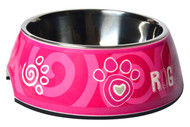 Rogz 2-in-1 Bubble Dog Bowl, Pink Paw Design