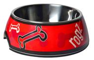 Rogz 2-in-1 Bubble Dog Bowl, Red Rogz Bones Design