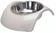 The Fancy New Zen Rogz Luna Bowl is made from melamine and stainless steel. Stainless Steel is non-toxic and the first choice for strict hygiene conditions. Easy to clean, 100% non-harmful or toxic to a pet's body, the Luna Bowl comes in many awesome and funky designs.  The Luna Bowl is strong and does not break easily, is UV and corrosion resistant.  Talk about durable!  The natural non-toxic silicone base prevents slippage and makes this bowl non-skiddable. You can also wash Fido's bowl in the dishwasher!  A two-in-one bowl, the Luna Bowl's stainless steel inside bowl can be used for water while the outer Melamine bowl can be used for food.  How handy is that!