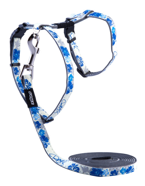 Rogz Catz Glow Cat Small 11mm Reflective and Glow-in-the-Dark Cat H-Harness and Fixed Lead Combination has a fully adjustable H-Harness. Glow Cat harnesses and leads are made with a polyurethane reflective as found in sports shoes on the inside and a unique glow-in-the-dark polyurethane on the outside with an overlay print so you can have a lot of fun turning off the lights and watching where kitty goes in the dark.  The harnesses and leads edges are rolled and stitched to ensure there are no open ends or sharp edges. Suitable for most cat breeds and sizes.