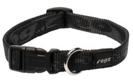 Rogz Alpinist Medium 16mm Matterhorn Dog Collar, Black Rogz Design(HB23-A)