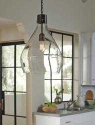 Avalbane Clear/Gray Glass Pendant Light