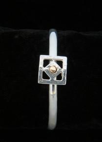 Silver & 14K Gold 5mm Two Square Bracelet