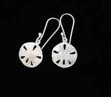Silver Small Sand Dollar Earrings- French Wire