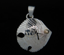Silver Tourista Fish Pendant- 14K Gold Eye