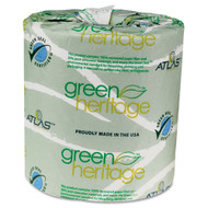 "Atlas Green Heritage 2-Ply Toilet Tissue, White, 4.5"" x 3.5"", Case of 96 Rolls"