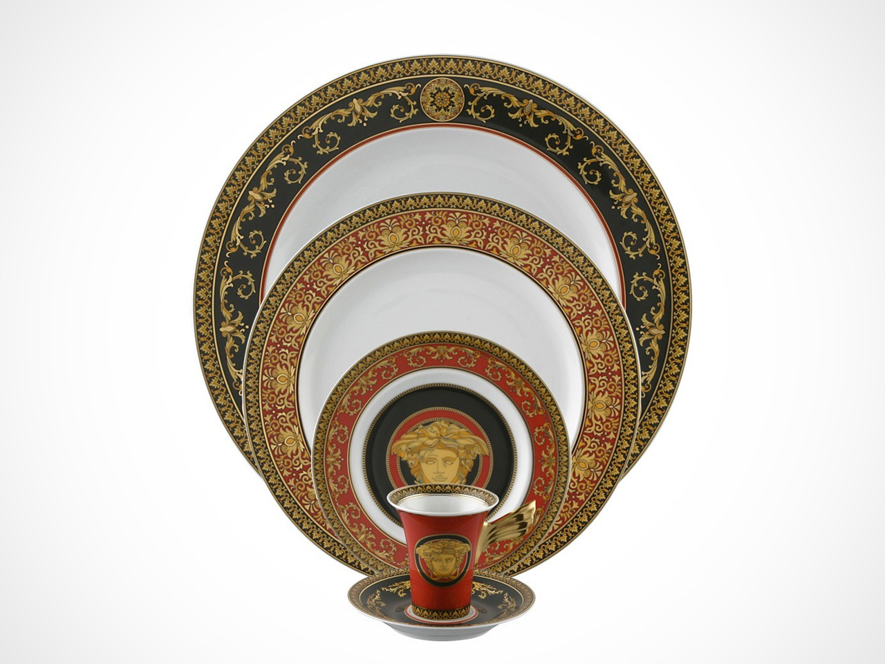 Versace Medusa Red 5 piece place setting on white background.