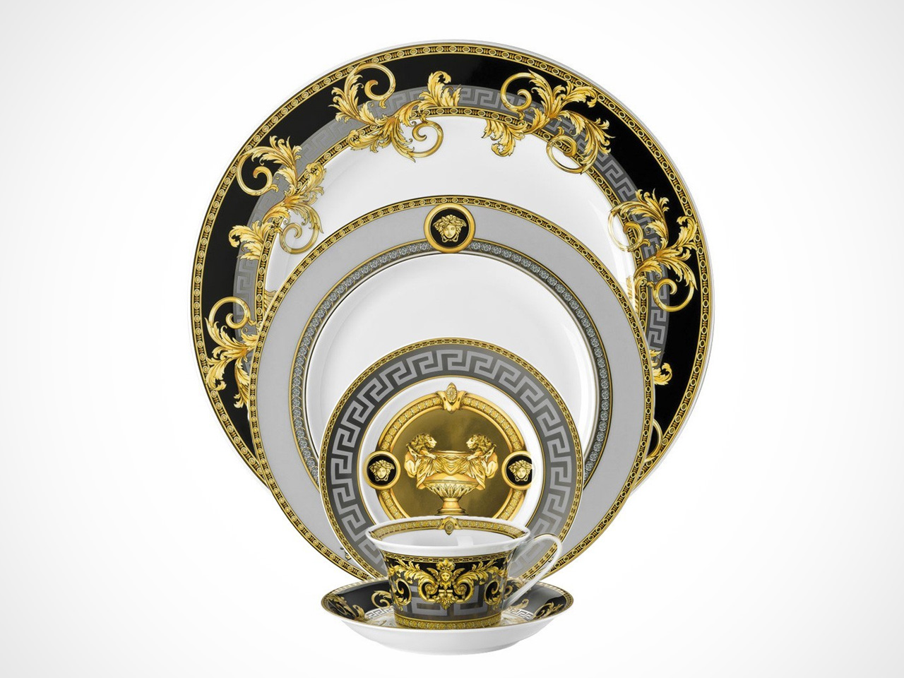 Versace Prestige Gala 5 piece place setting on white background.
