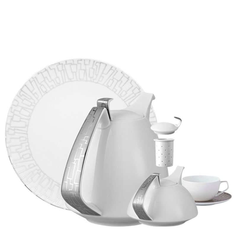 Rosenthal TAC 02 Skin Platinum plate, coffee pot, tea pot and cup on white background