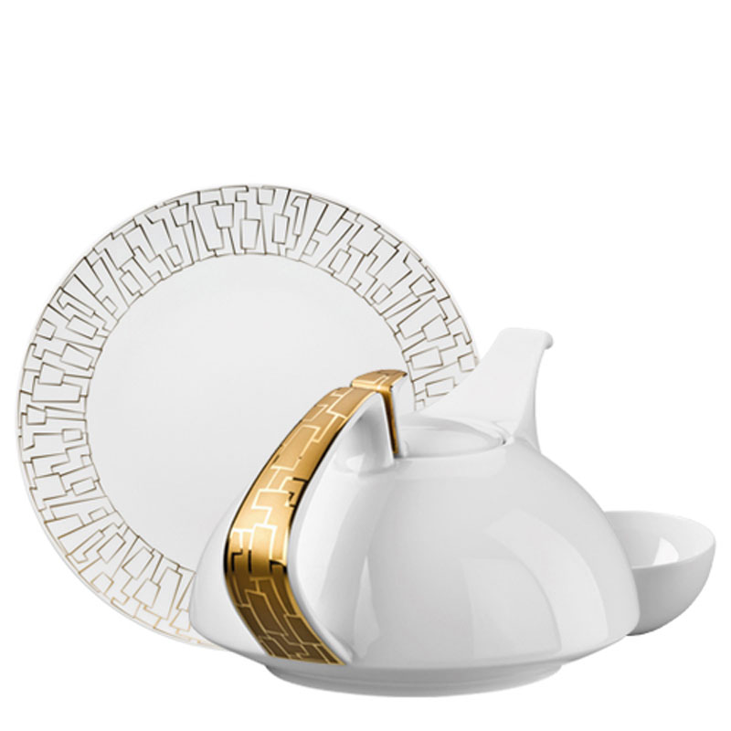 Rosenthal TAC 02 Skin Gold plate, coffee pot and cup on white background