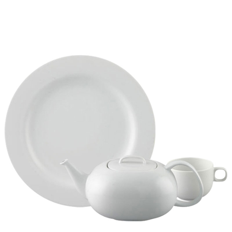 Rosenthal Moon White plate, coffee pot and cup on white background