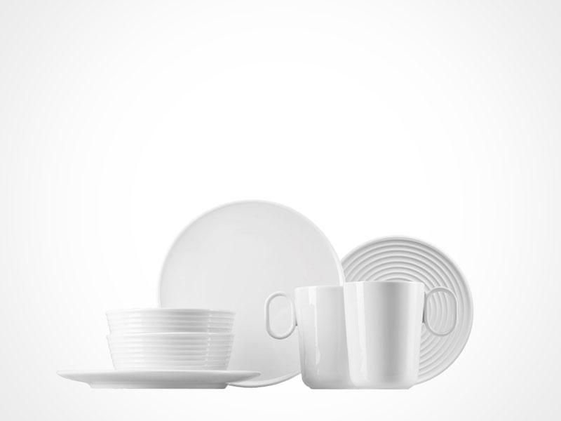 Thomas Ono bowls, plates and mugs on white background.