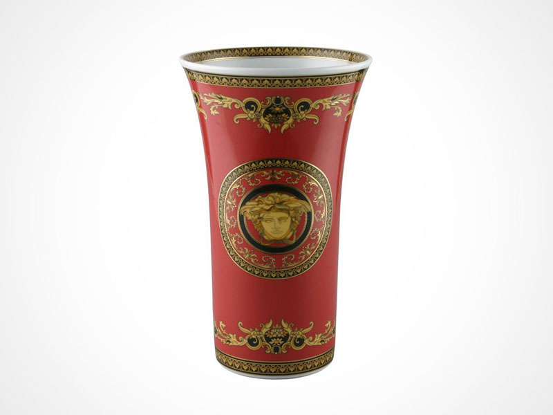 Versace Medusa Red vase on white background.