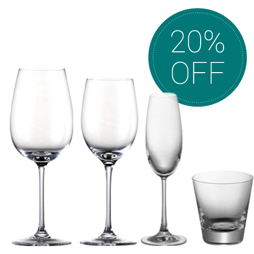 Various DiVino glasses on white background with green 20% off sign