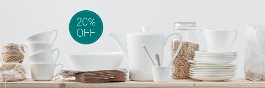 Various Jade Bone China plate, cups and pots on wooden shelf with green 20% off sign