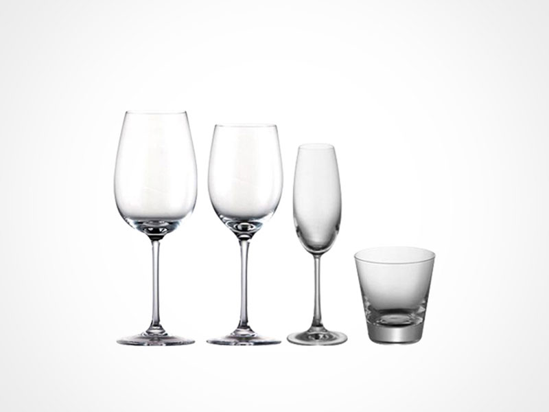 Rosenthal DiVino wine glasse and whiskey glass on white background