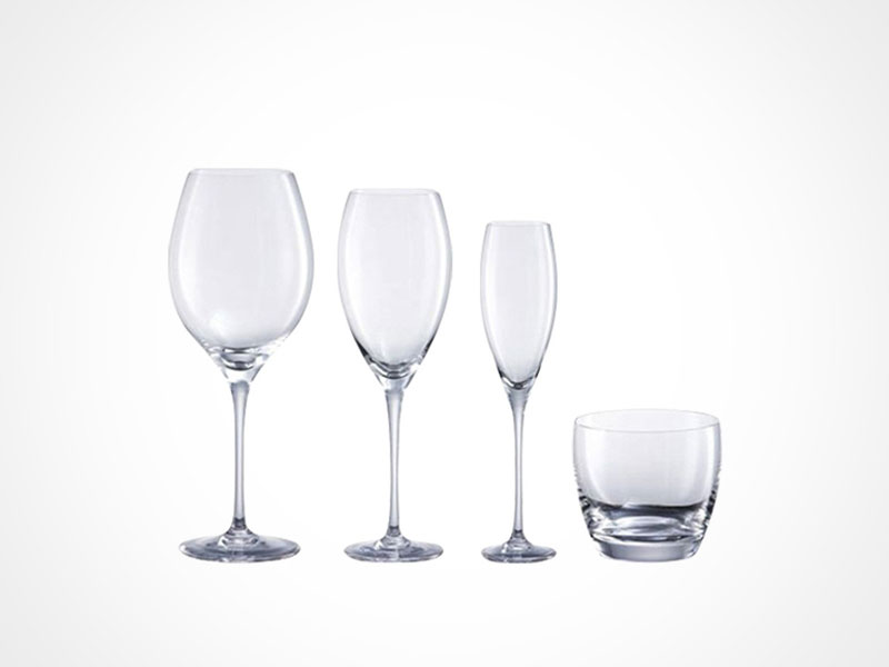 Rosenthal Drop wine glasses and whiskey glass on white background