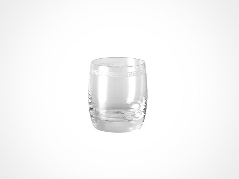 Versace Medusa Clear whiskey glass on white background.