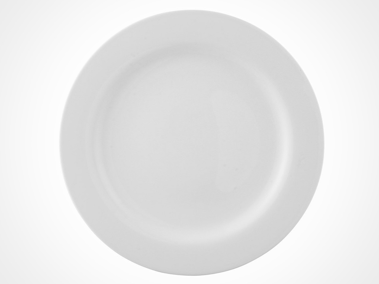 Rosenthal Moon White dinner plate on white background.