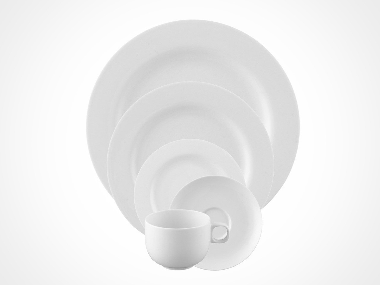 Rosenthal Moon White 5 piece place setting on white background.