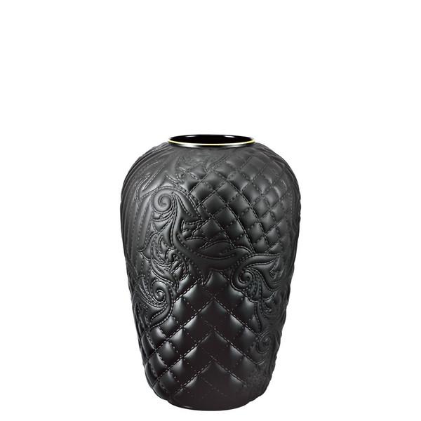 Black-goldrim Vase, 9 1/2 inch | Vanitas Black